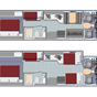 Slide-out AF34 Family Sleeper RV Floorplan
