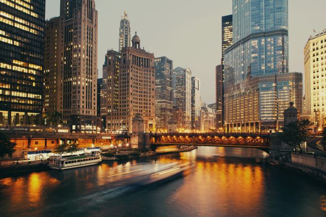 Chicago at twilight