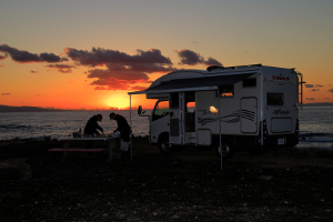 RV rental sunset Japan beautiful motorhome beach
