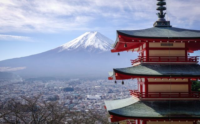 View of Mt. Fuji from Chureito Pagoda